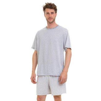 Pijama Manga Curta Verão Estampado Luna Cuore 308 Masculino