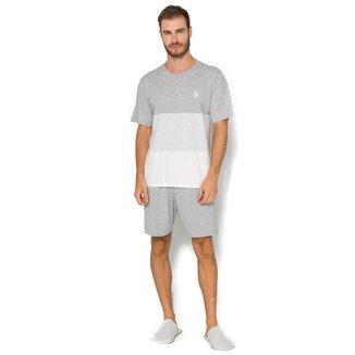 Pijama Masculino Básico Listras Evanilda - CINZA - GG