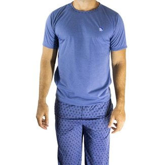 Pijama Masculino De Frio Manga Curta E Calça