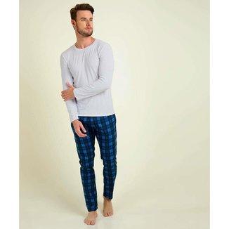 Pijama Masculino Xadrez Manga Longa - 10047962965