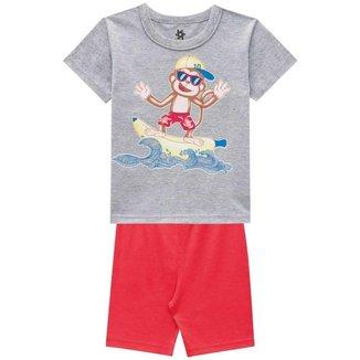 Pijama Menino Camiseta E Bermuda Cheirinho De Infância Cinza