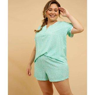 Pijama Plus Size Feminino Viscose Estampa Poá Manga Curta - 10048587518