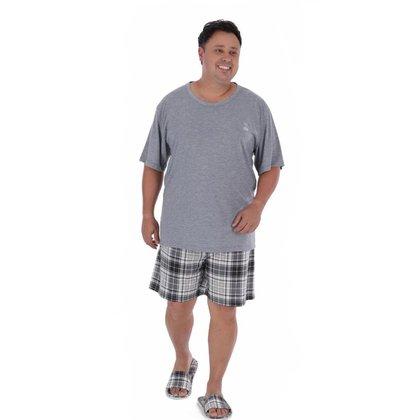 Pijama plus size masculino de verão manga curta XADREZ Victory