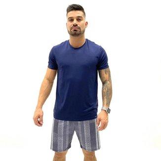 Pijama Recco curto viscose stretch camiseta shorts listrado Masculino