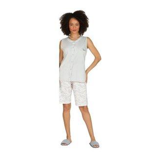 Pijama Regata Aberto Botões Elegante Feminino Algodão