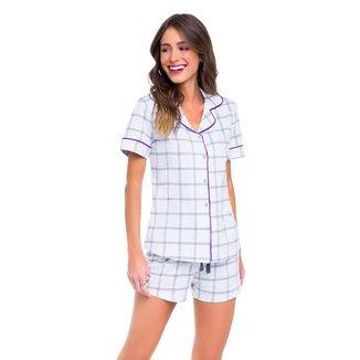 Pijama Veggi Manga Curta Aberto Geometric Feminino