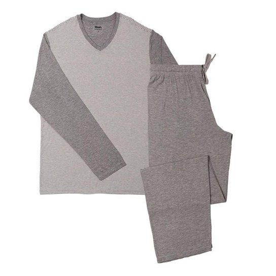 Pijama Viscose Manga Longa Mash - Cinza