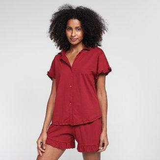 Pijama Volare Curto Com Babados Feminino