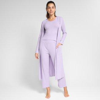 Pijama Volare Longo Com Robe Feminino