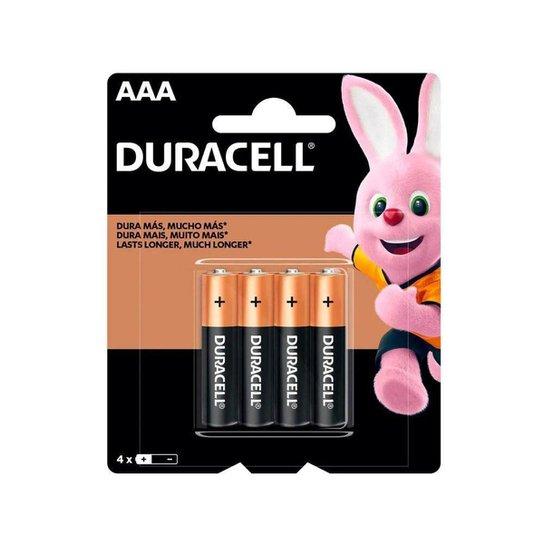 Pilha Duracell AAA pack c/ 4 unidades - MN2400B4 - Preto