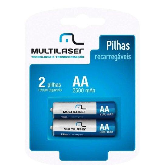 Pilhas Recarregáveis Aa Multilaser Com 2 Unidades - Cb053 - Azul