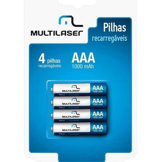Pilhas Recarregáveis Multilaser Aaa 1000Mah Com 4 Unidades Cb050