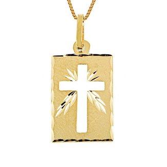 Pingente em Ouro 18K Estampado Placa Fosca Cruz Vazada - PG14738