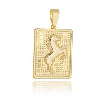 Pingente medalha de cavalo folheado em ouro 18k