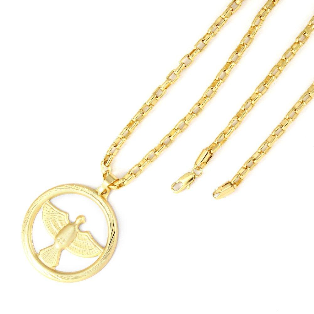 73c31265230 Pingente Tudo Joias Espirito Santo Com Corrente Cartier Folheada A Ouro 18K  - Compre Agora