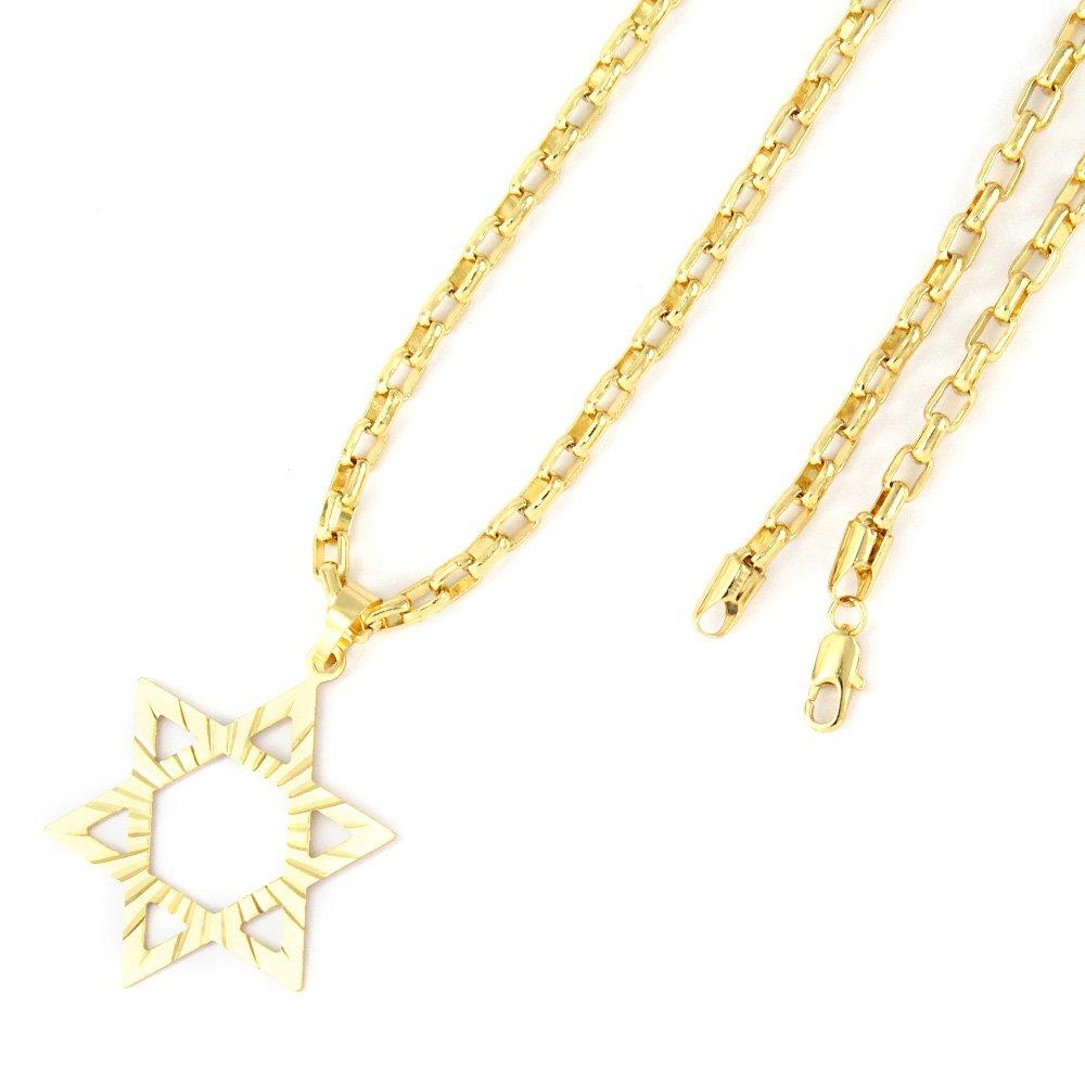 e7e76a7655c Pingente Tudo Joias Estrela De Davi Com Corrente Cartier Folheado A Ouro  18K - Compre Agora