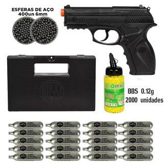 Pistola Airsoft CO2 Win Gun C11 + 20CO2 + 2 Potes Esferas Aço 6mm + Maleta Rossi+ 0.12g 2000 Bbking