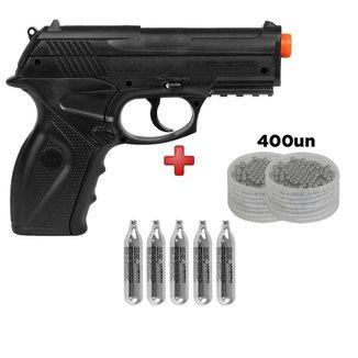 Pistola Airsoft CO2 Win Gun  C11 + 5 Cilindros de CO2 + 400 Esferas de Aço 6.0mm