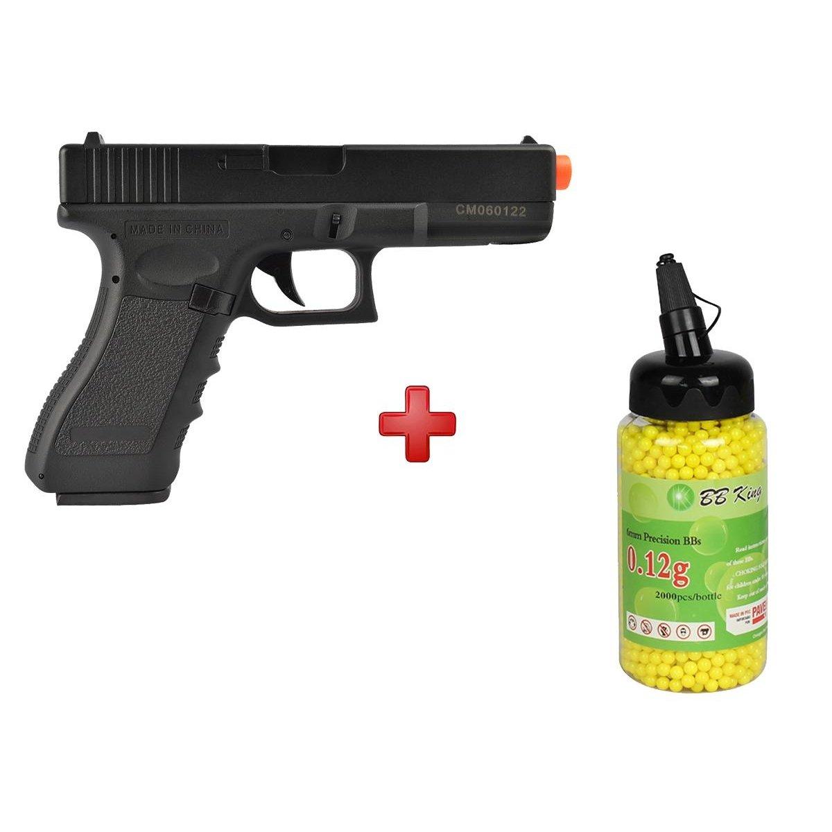Pistola Airsoft Elétrica Cyma Glock G18C CM030 Semi-Metal Bivolt + BBs BB  King 0 12g - Preto