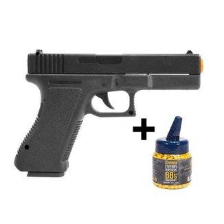 Pistola Airsoft Glock 17 Vigor V307 Mola Spring 6mm + 1.000 Bbs