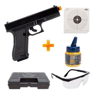 Pistola Airsoft KWC K17 Spring 6mm 230 Fps + Maleta + BBs + Alvos + Óculos