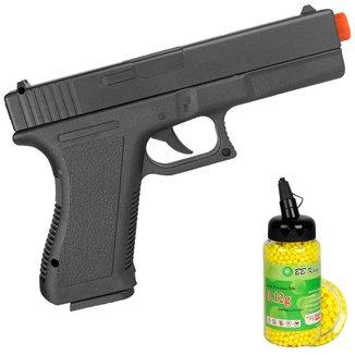Pistola Airsoft Spring Glock GK-V307 + BBs Plástica BB King 0.12g 2000un.
