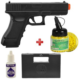 Pistola Airsoft Spring Glock V20 Full Metal 6mm – Vigor + BBs + Case + Silicone