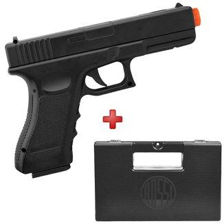 Pistola Airsoft Spring Glock V20 Full Metal 6mm – Vigor + Case Rígido Maleta