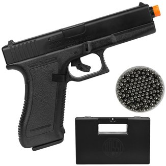 Pistola Airsoft Spring KWC Glock K7 + Esferas de Alumínio 6mm 200un. + Case Rígido