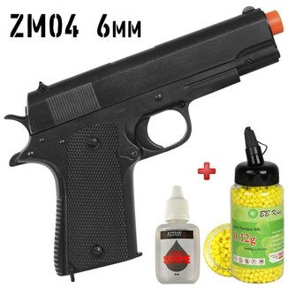 Pistola Airsoft Spring Rossi ZM04 + BBs BB King 0.12g 2000un + Óleo Silicone Action-x