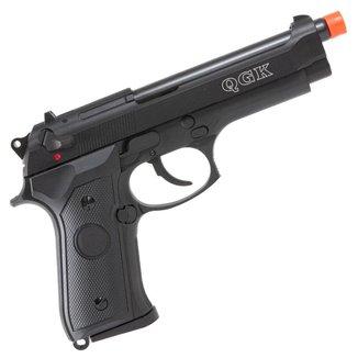 Pistola de Airsoft a Gás GBB Green Gas QGK 92 BK Blowback Slide Metal Preta 330 FPS - QGK