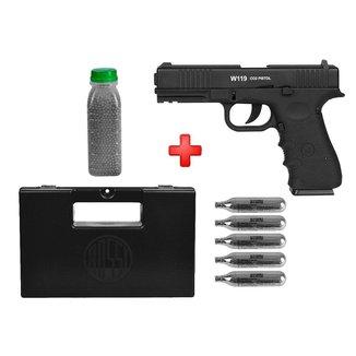Pistola De Pressão Co2 Win Gun W119 Semi-Metal 4.5Mm + Kit Munição + Maleta