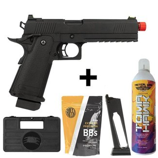 Pistola Rossi Black Devil Blowback Green Gás Metal + 1.000 Bbs + Green Gás + Case + Magazine CO2