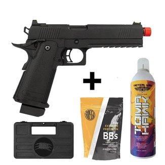 Pistola Rossi Black Devil Blowback Green Gás Metal + 1.000 Bbs + Green Gás + Case