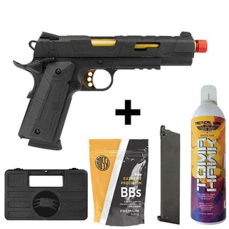 Pistola Rossi Gold Red Wings Blowback Green Gás Metal + 1.000 Bbs + Green Gás + Case + Magazine Este