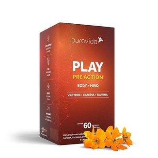 Play Pre Action Cafeína Taurina Vinitrox Corpo e Mente 60 cáps Puravida