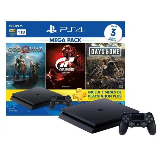PlayStation 4 Bundle V12 1TB 1 Controle Sony com 3 Jogos PS Plus 3 meses - Preto