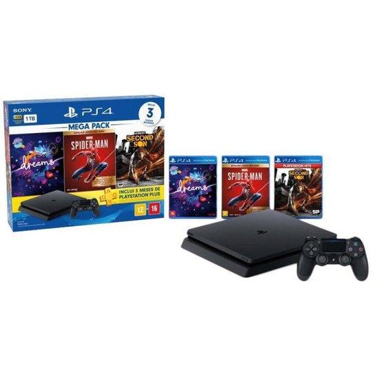 PlayStation 4 Mega Pack V17 1TB 1 Controle Sony - com 3 Jogos 3 Meses PS Plus - Preto