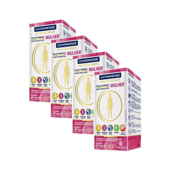 Polivitaminico A Z Mulher 4 un de 60cps. Catarinense - Branco+Rosa