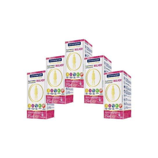 Polivitaminico A Z Mulher 5 un com 60cps. Catarinense - Branco+Rosa
