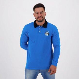 Polo Grêmio Manga Longa Azul