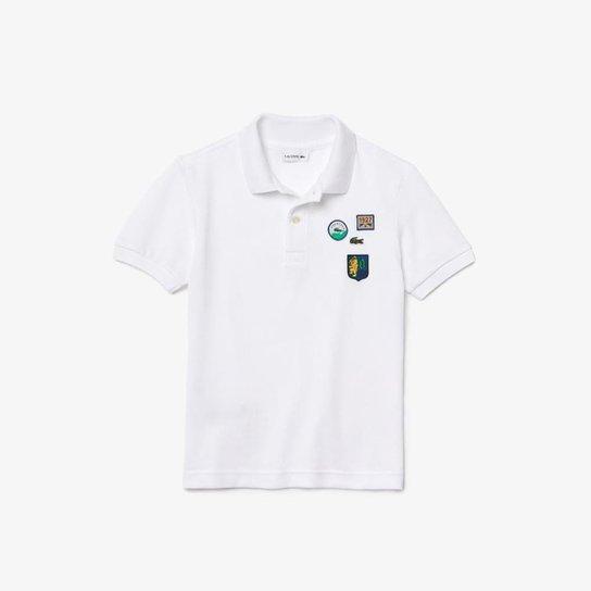 Polo infantil Lacoste em piqué de algodão macio com emblemas - Branco