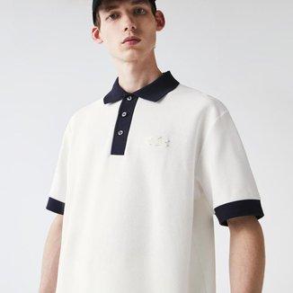 Polo masculina Lacoste com modelagem solta em piqué de algodão texturizado