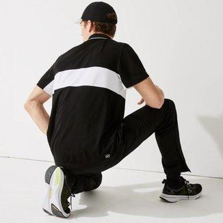 Polo masculina Lacoste SPORT em tecido resistente e respirável com colorblock