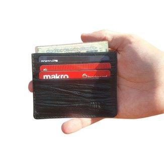Porta Cartão Nick Preto Plissada