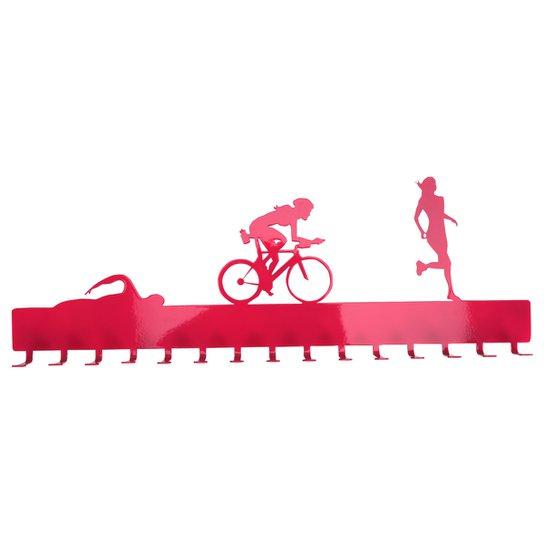 Porta-medalhas de Triathlon - Feminino - Rosa Escuro