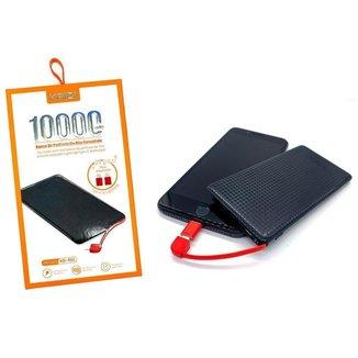 Power Bank Carregador Portátil Kaidi 10000 Mah Slim Kd-951 Preto Vermelho
