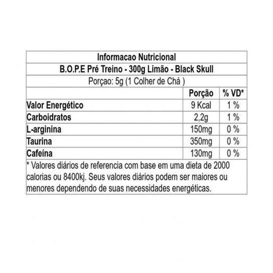 Pré Treino Bope 300g - Black Skull - Limão   Netshoes