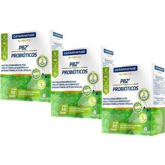 Probióticos PB2 30 com 3 unidades 30 cápsulas cada Catarinense