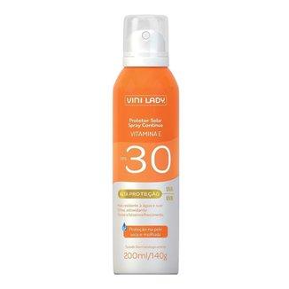 Protetor Solar FPS 30 Aerossol Spray Contínuo Vitamina-E Vini Lady